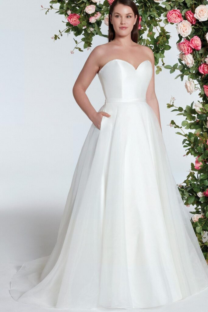 Sweetheart Ball Wedding Gown with Clean Mikado Bodice. Bridal store in Colorado Springs, CO Bridal Elegance