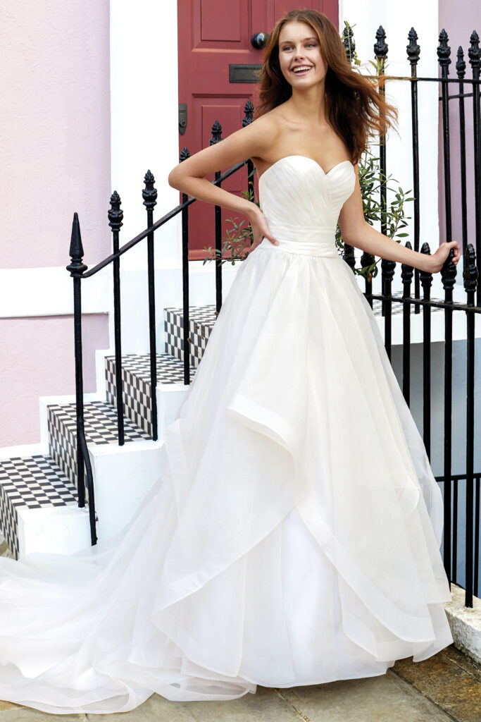 Sweetheart Ball Wedding Gown with Pleated Bodice and Tiered Organza Skirt. Bridal store in Colorado Springs, CO Bridal Elegance